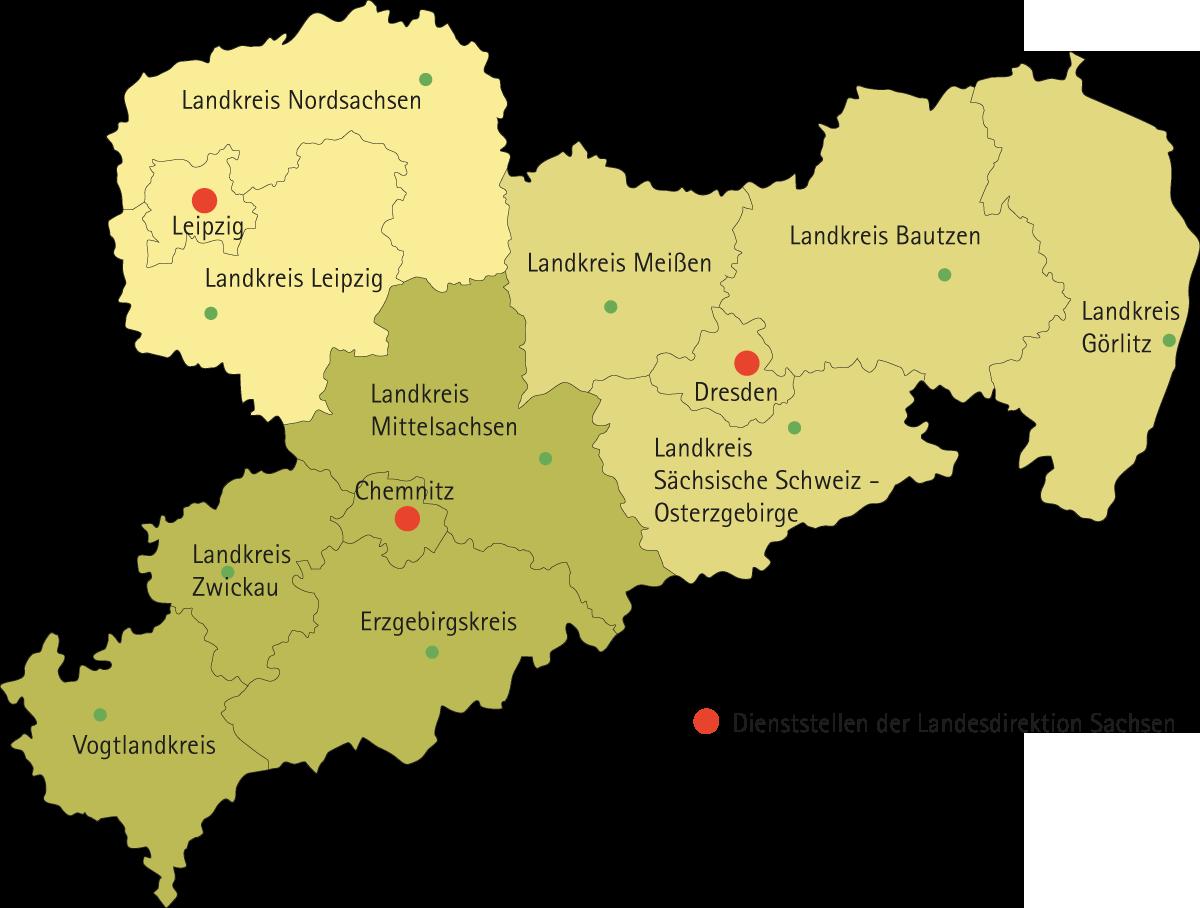 Karte Chemnitz.Dienststellen In Sachsen Zehn Kreise Und Drei Kreisfreie